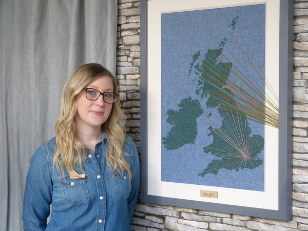Jane Hunter with wool map of UK - Political Art Scotland