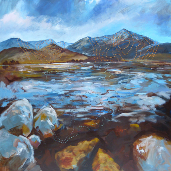 Artist collaboration Landscape painting and fibre art - mixed media - Scotland's lochs and mountains