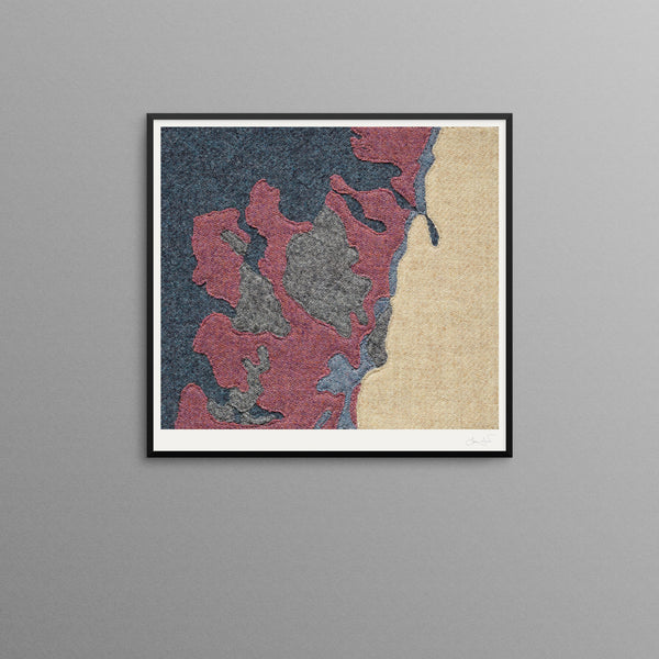 Contemporary Scottish Artist, Jane Hunter - Textile Map - Abstract Art - NW Highlands