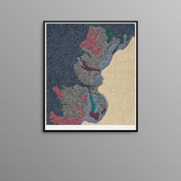 Contemporary Scottish Artist, Jane Hunter - Textile Map - Geology Abstract Art Assynt
