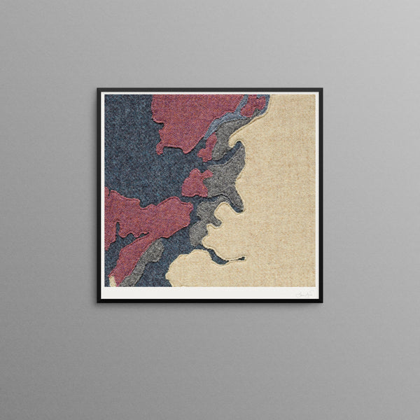 Contemporary Scottish Artist, Jane Hunter - Textile Map - NW Highlands, Abstract Art
