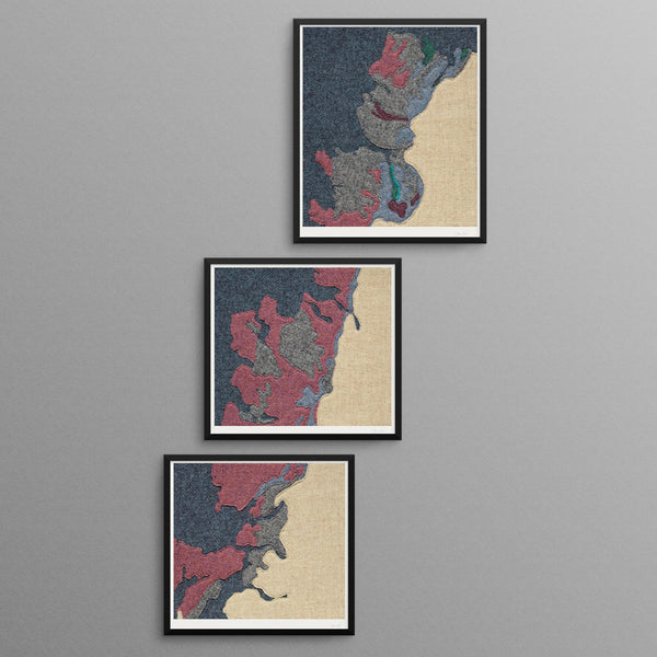 Contemporary Scottish Artist, Jane Hunter - Textile Map - Abstract Art Triptych