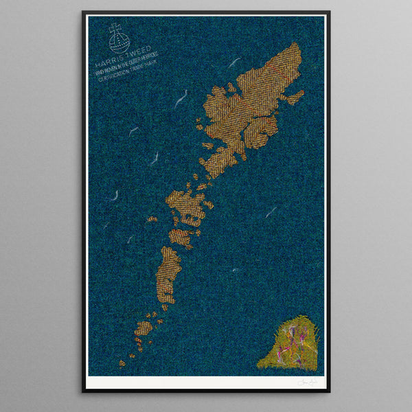 Contemporary Scottish Artist, Jane Hunter - Textile Map - Outer Hebrides, Machair, Harris Tweed