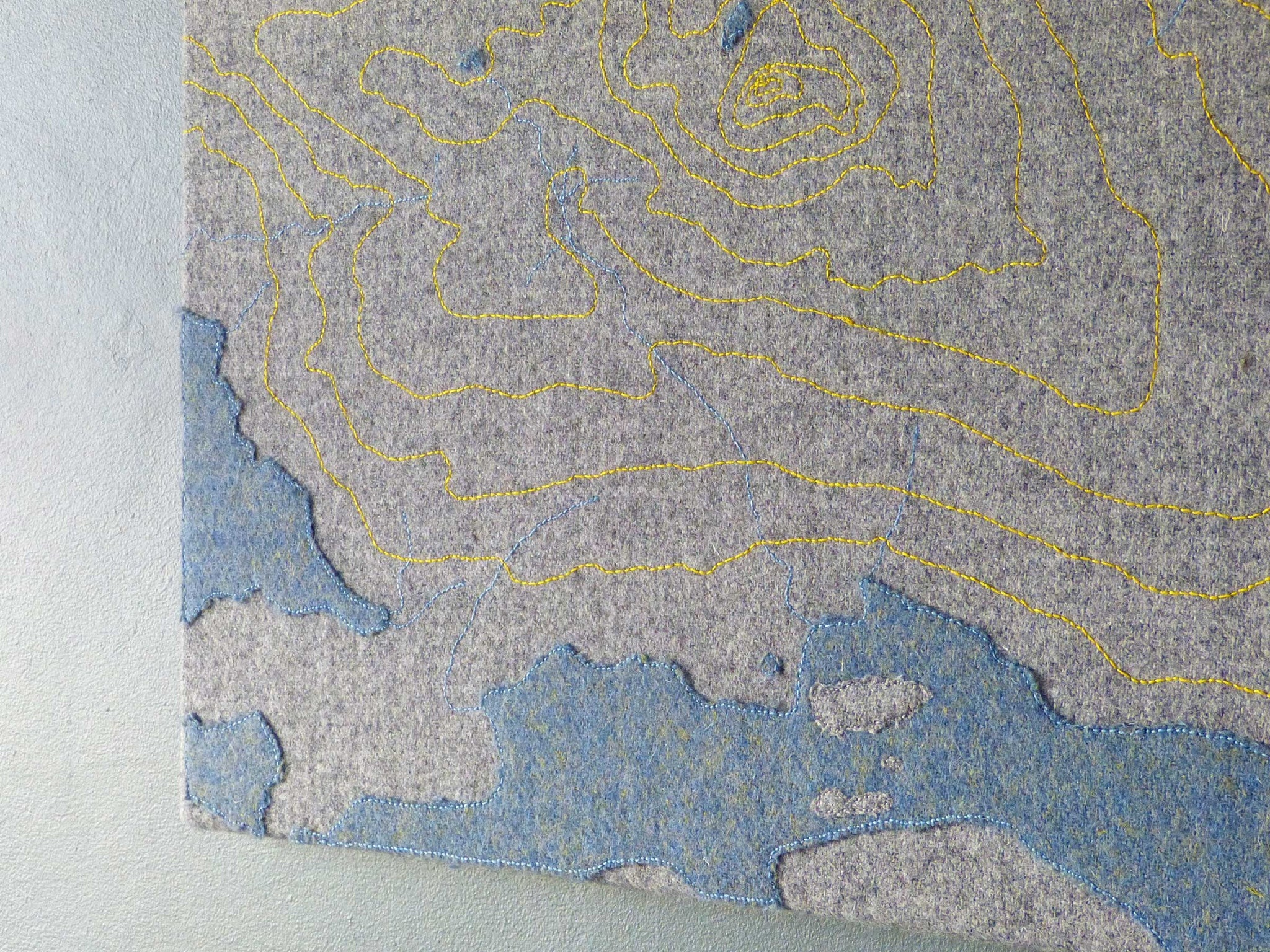 Stac Pollaidh Textile Map Yellow Stitching - Wall Art