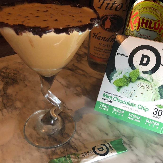 Mint Chocolate Protein Quarantini (martini)