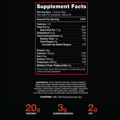 Brownie Batter Protein Supplement Facts