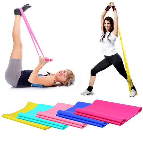 1.2m Elastic Yoga Pilates Rubber Stretch Exercise Band Arm Back Leg Fitness All thickness 0.35mm same resistance Free Shipping