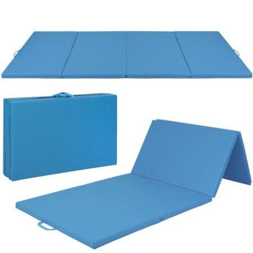 Best Choice Products 8ft 4-Panel Extra-Thick Foam Folding Exercise Gym Floor Mat for Gymnastics, Aerobics, Yoga, Martial Arts w/Carrying Handles -Blue - all best sales