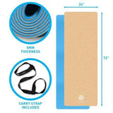 Life Energy 5mm EkoSmart Cork Yoga Mat with Yoga Strap - all best sales