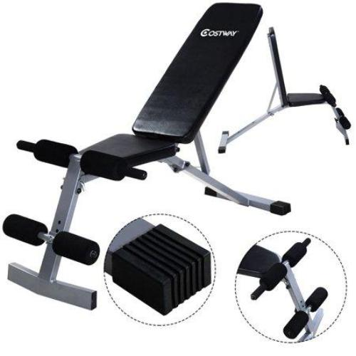 Costway Adjustable Foldable Sit Up AB Incline Abs Bench Flat Weight Press Gym - all best sales