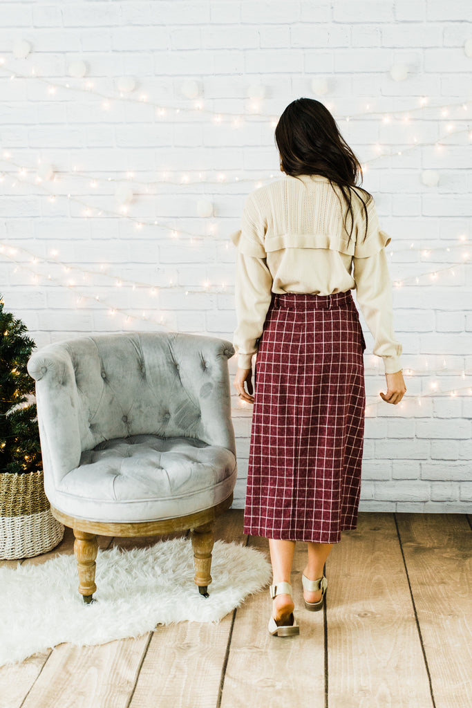 Burgundy Window Pane Skirt
