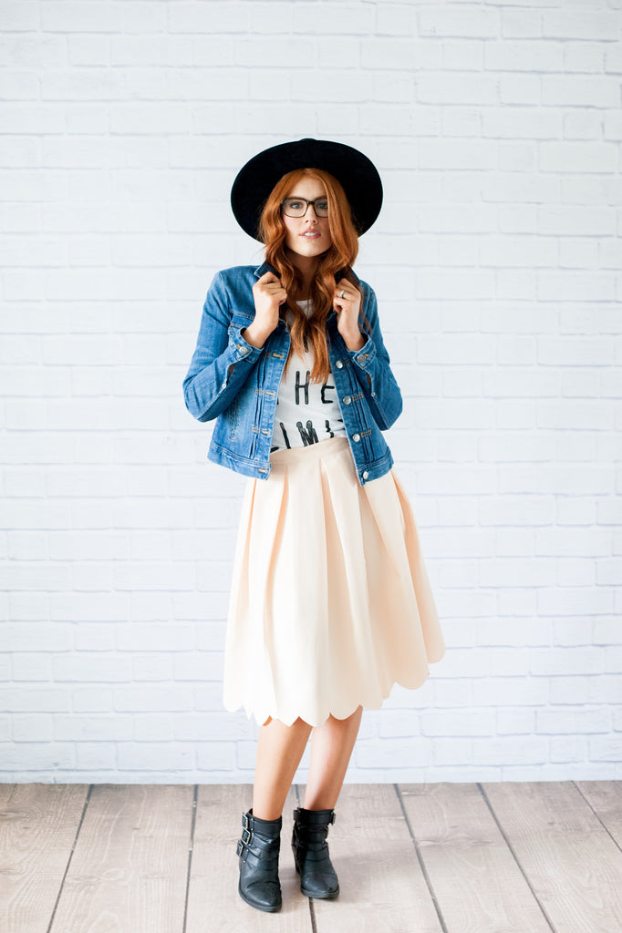 Peach Scalloped Edged Skirt