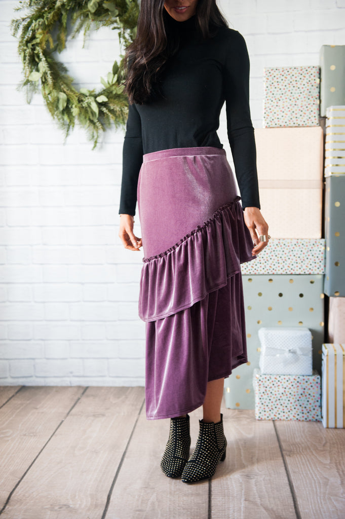 Mauve Tiered Velvet Skirt