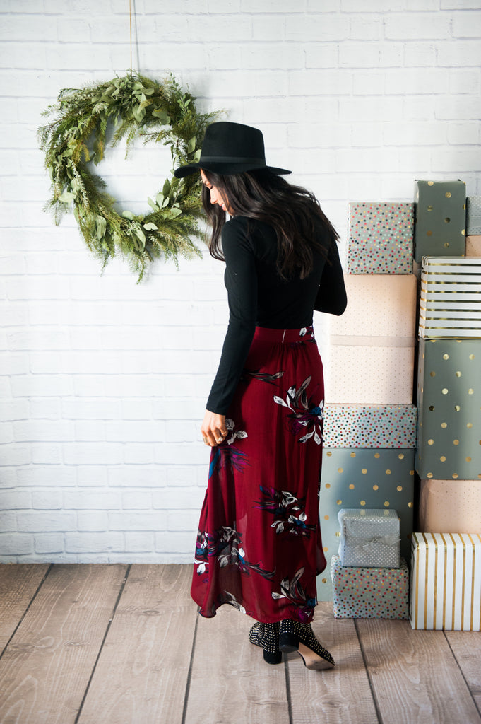 Burgundy Floral Tiered Skirt