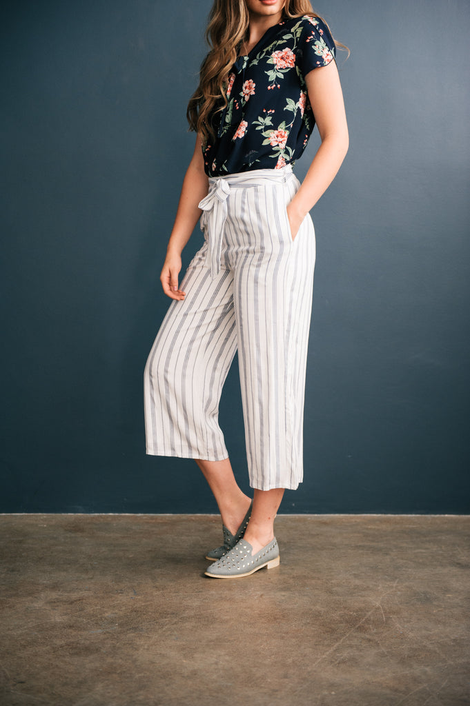 Pinstripe Crop Pants