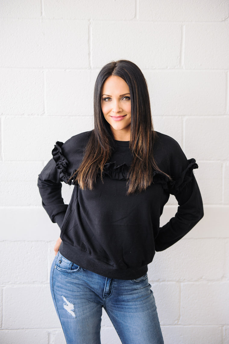Black Ruffle Sweatshirt