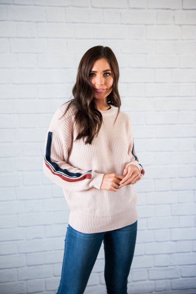 Maxwell Stripe Sleeve Sweater