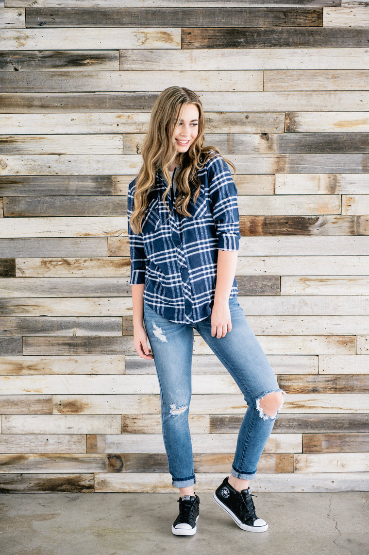 Blue Plaid Zip-Up