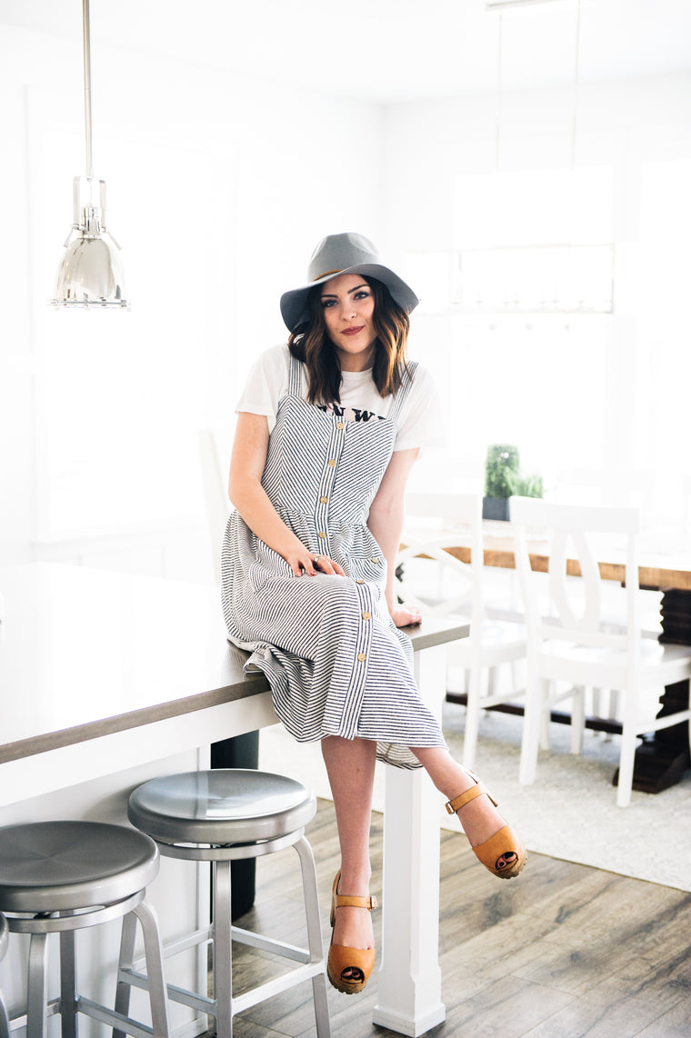 Sanders Overall Pinstripe Dress