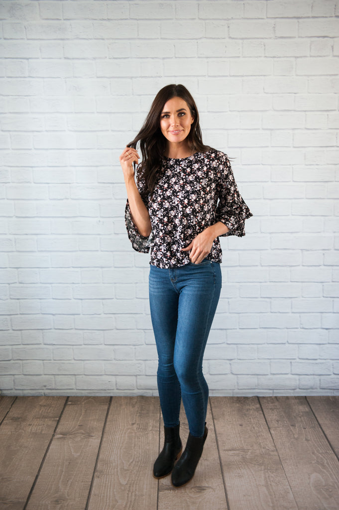 Black Mini Floral Blouse