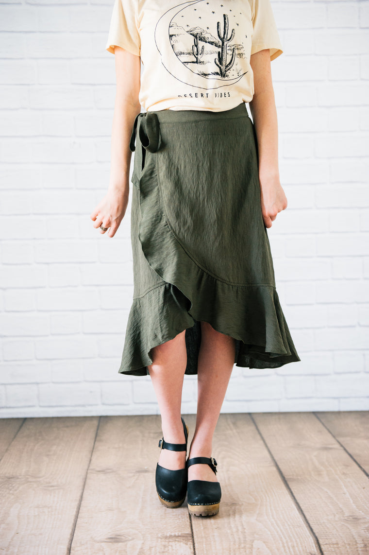 Olive Tiered Ruffle Skirt