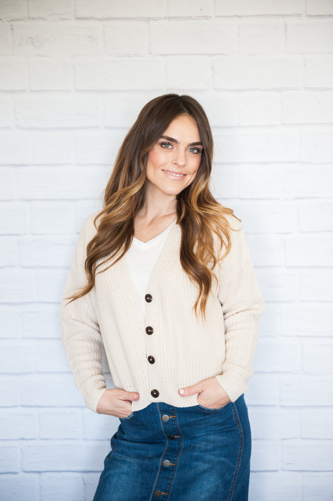 Frankie Button Front Cardigan Cream