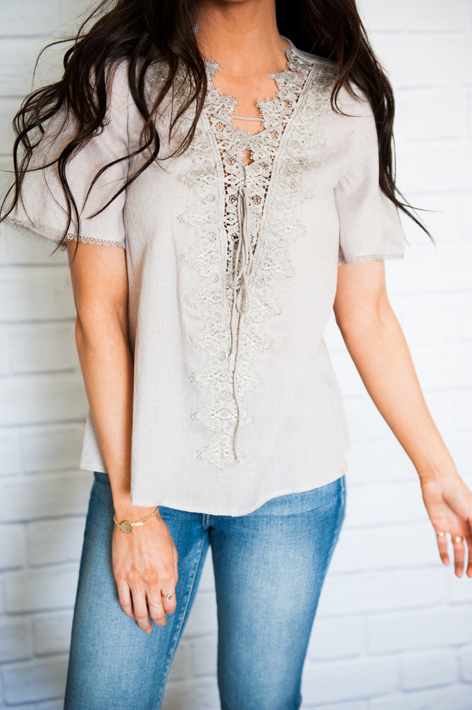 Lyla Lace-up Blouse