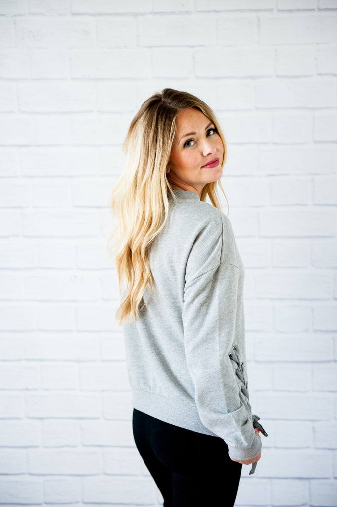 Lace-Up Gray Sweatshirt