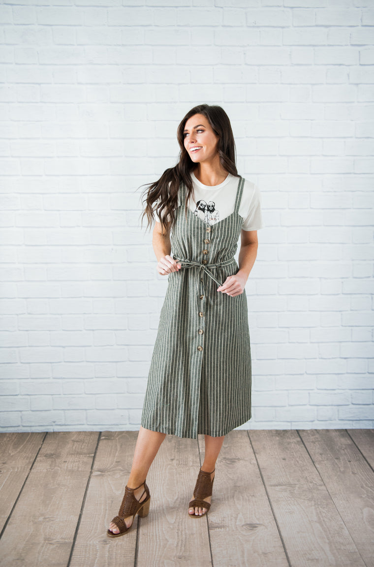 Baylor Pinstripe Jumper Dress