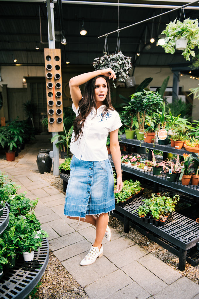River Rock Denim Skirt