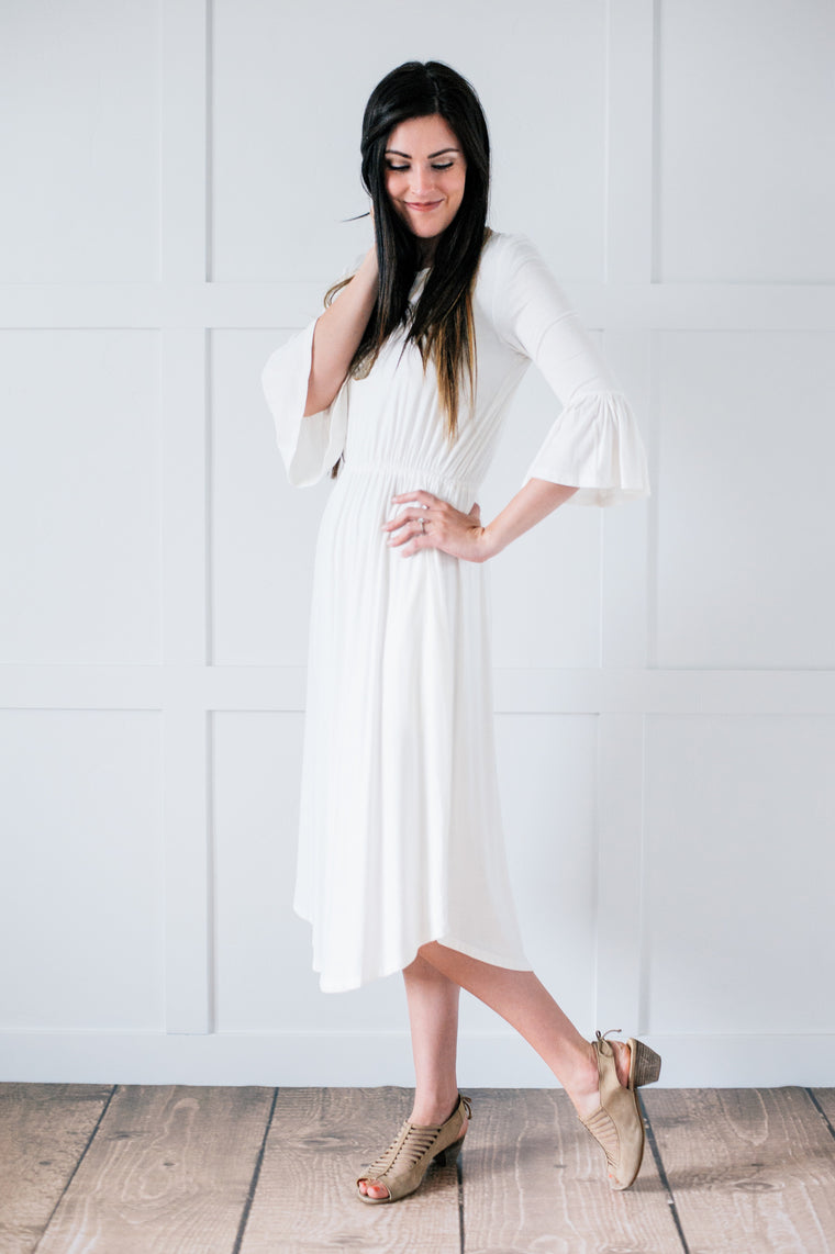 Chase White Ruffle Sleeve Dress