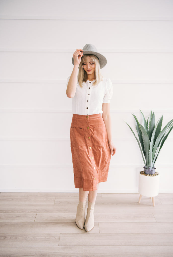 Rust Button-up Skirt