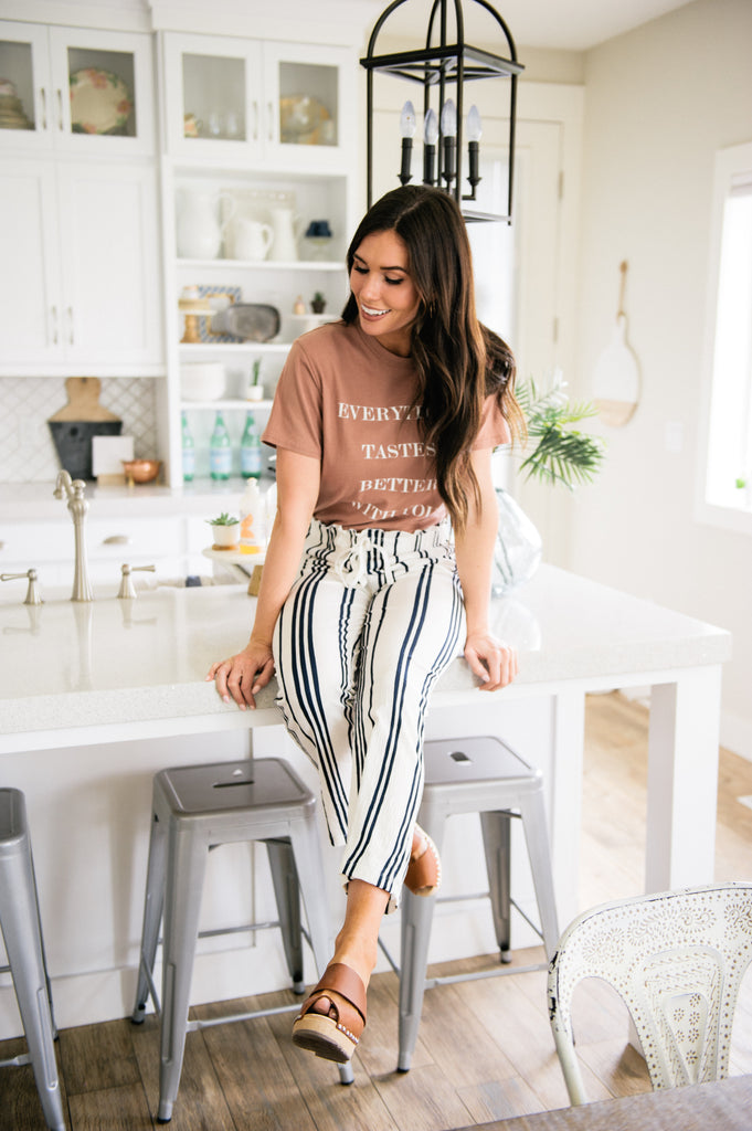 White and Navy Stripe Pant