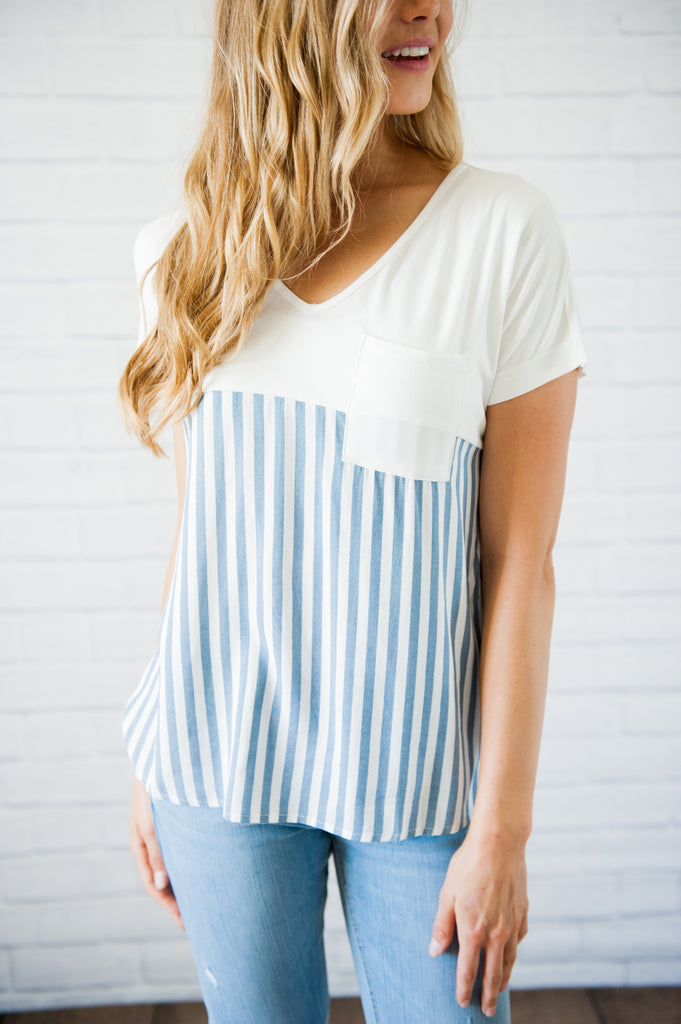 Striped Chambray Pocket Tee