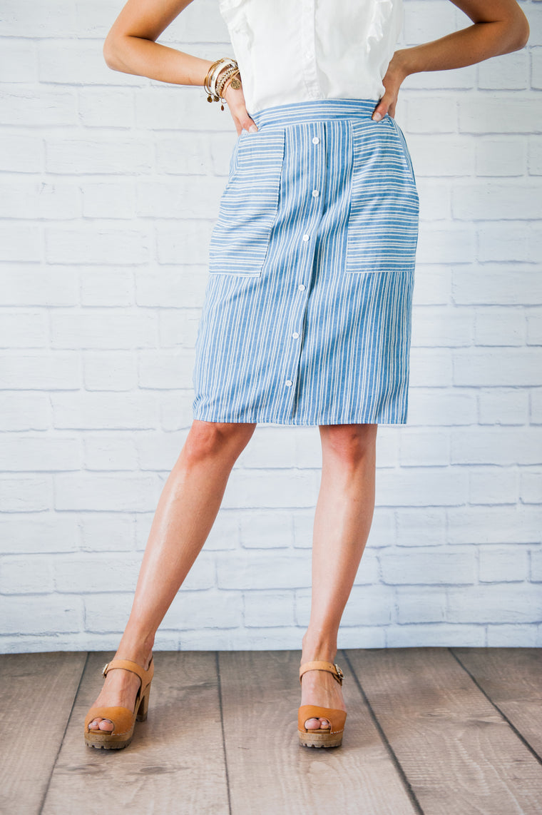 Remi Chambray Striped Skirt