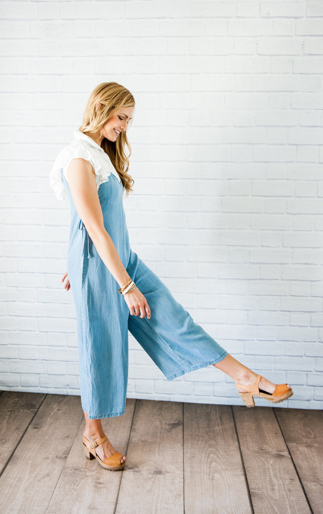 Chambray Lace-Up Jumper