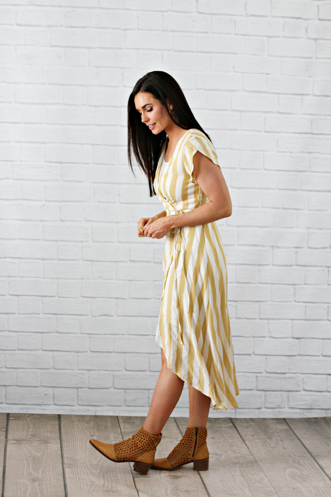 Vici Mustard Striped Dress