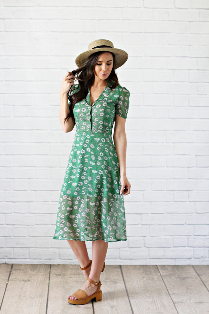 Green Gables Floral Dress