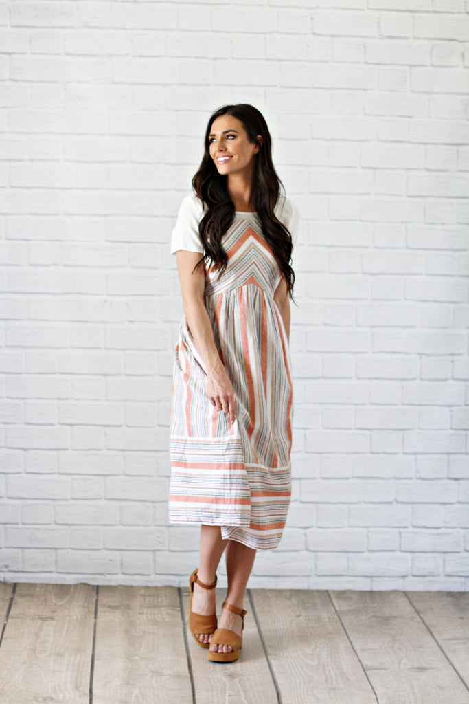 Orange-Striped Overall Dress