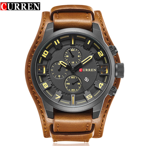 Men's Luxury Quartz Watches Sports Leather Strap Military Watch