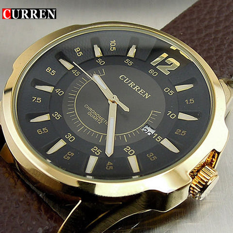 Luxury Mens watch with brown leather strap