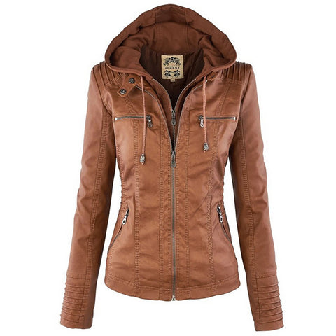 Faux Leather Long Sleeve Waterproof Windproof Jacket