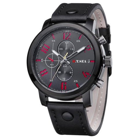O.T.Sea Men's Sports Quartz Watch with Luxury Leather strap