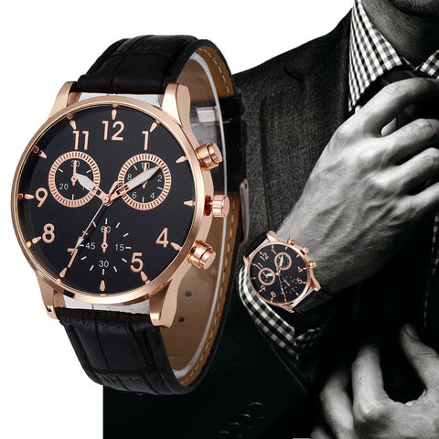 Relogio Masculino Mens Luxury Leather Strap Quartz Watch