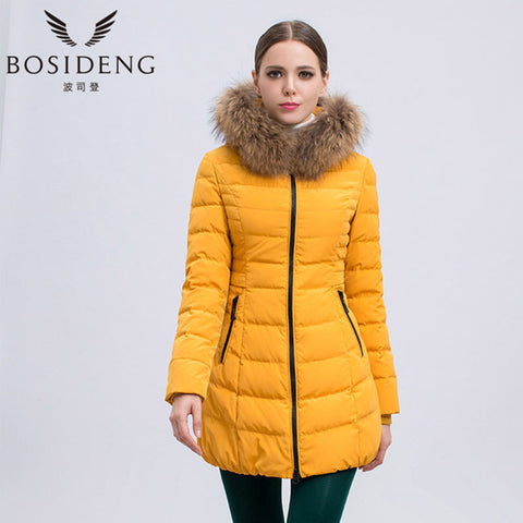 Hooded Long down jacket with natural fur collar