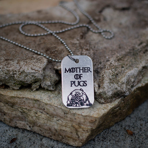 Mother of Pugs Dog Tag Necklace