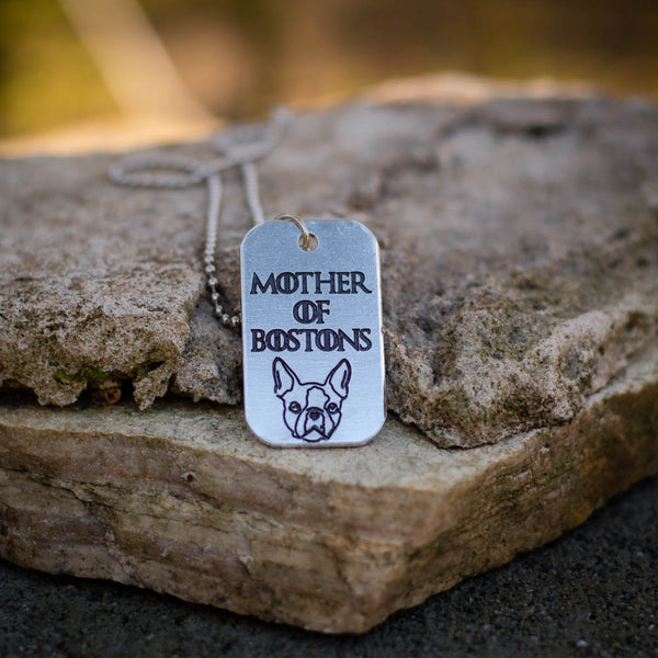 Mother of Bostons Dog Tag Necklace