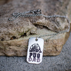Pug Dad Dog Tag Necklace