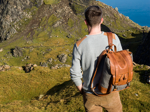 Hiking mountain with leather backpack