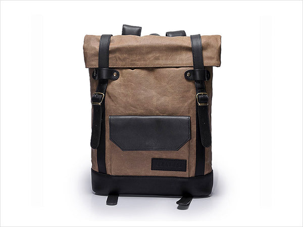 Hawk Roll up handmade leather backpack